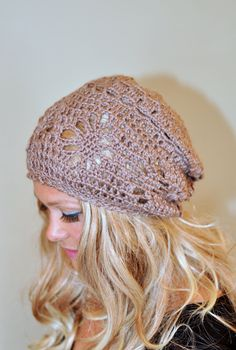 Slouchy Beanie Women Hat Slouchy Hat Summer Hat CHOOSE COLOR Brown Camel Summer Slouch Crochet Gift under 50 by lucymir on Etsy
