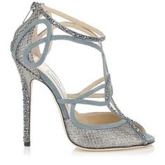 Jimmy Choo 'Kasava' Blue Grey And Gunmetal Suede And Glitter Fabric Sandals With Hotfix Crystals
