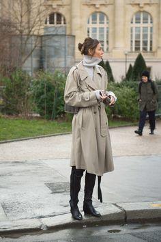 Julie Pelipas | coat's hem hits knee, skinny jeans, combat boots