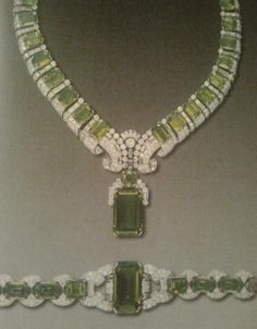 Peridot and diamond demi parure  Cartier  1936,  Duchess Of Windsor Wallis Simpson.....Uploaded By www.1stand2ndtimearound.etsy.com