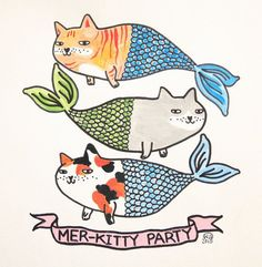 Original painting merkitty party cute cats mercats by ShopNDS