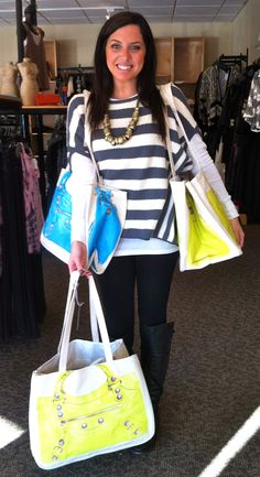 @Jaclyn Fisher carrying our Thursday Friday beach bags
