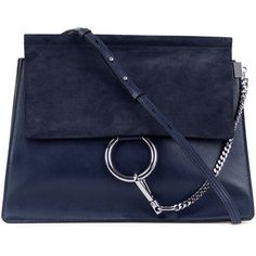 Chloe Faye Medium Flap Suede/Leather Shoulder Bag (£1,375) ❤ liked on Polyvore…