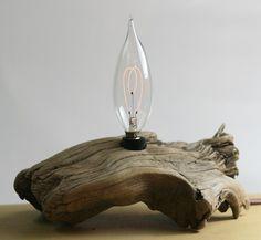 Driftwood lamp carbon filament bulb