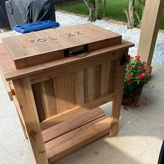 All weather 48-QT Rustic Cedar Chest Cooler Stand with Brass | Etsy Cooler Stand, Ice Chest Cooler, Cedar Planters, Garden Planters, Pallet Furniture Easy, Galvanized Nails, Hanging Flower Pots, Wishing Well, Bay Window