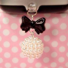 Sweet Lolita Cell Phone Charm Dust Plug Earphone by blacktulipshop, $5.00