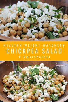 This super easy chickpea salad recipe is so delicious with a homemade dressing, spring onions and feta cheese. A great side dish on Meatless Mondays or any day! Garbanzo Bean Recipes, Chickpea Salad Recipes, Chickpea Feta Salad, Quinoa, Mediterranean Salad Recipe, Mediterranean Diet, Ww Recipes, Healthy Recipes, Quick Recipes