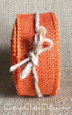 """Orange wired burlap ribbon, 1 1/2"""" wide, 100% natural jute. Ideal not only for Halloween and Thanksgiving, but also spring, summer and Easter crafts and decor. From the Cottage Crafts Online shop on Etsy."""