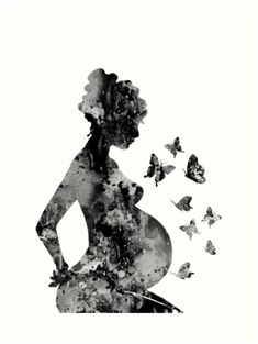 'Pregnancy, pregnant woman' Art Print by Rosaliartbook Pregnancy Drawing, Pregnancy Art, Pregnancy Tattoo, Pregnancy Gifts, Birth Art, Mother Tattoos, Mother Art, Medical Art, Silhouette Art