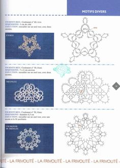 3 Tatting Motifs with Pattern. The triangular one can be joined to create a diamond (with some modification) or a large lacy square if 4 are joined !