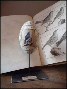 Sweet vintage Victorian antique decoupage bird egg - perfect shabby chic :)