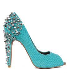 Sam Edelman Womens Lorissa Studded Aqua Blue Court Shoes found on Polyvore