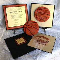 This basketball themed invitation goes over the top to set the tone for your upcoming event. Using a hand created basketball hoop and net along with a custom basketball shaped and textured party card, this invitation is the kind that people will talk about for years to come! http://beescards.com/portfolio/bar-mitzvah/
