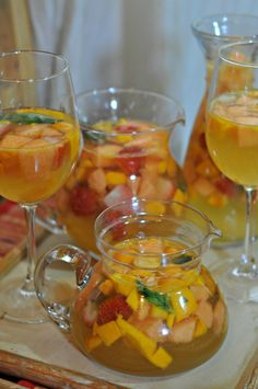 Easy, delicious and potent Sangria Recipe for such brunches. White wine & summer fruits like mango, melon and berries come together to create the best Sangria ever.