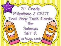 Use this set of 20 task cards in preparation for the Georgia Milestone / CRCT. The 20 cards are based on the 3rd grade Georgia Performance Standards. Students are able to get familiar with the multiple choice test layout, wording on the test, and bubbling in their answers all while reviewing concepts taught throughout the year!This is Set A.