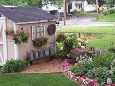 love this little garden shed and garden.A Sentimental Life: Garden Pinks love this little garden shed and garden.A Sentimental Life: Garden Pinks Outdoor Sheds, Outdoor Gardens, Shed Landscaping, Shed Makeover, Shed Decor, She Sheds, Shed Design, Garden Cottage, Shed Plans