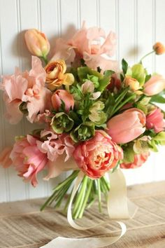 Fresh Spring Wedding Bouquets ❤ See more: www. - - Fresh Spring Wedding Bouquets ❤ See more: www.weddingforwar… Fresh Spring Wedding Bouquets ❤ See more: www. Fresh Flowers, Spring Flowers, Beautiful Flowers, Spring Blooms, Peach Flowers, Send Flowers, Pink Tulips, Coral Peonies, Coral Roses