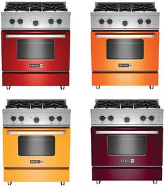 4 beautiful colors we launched in the new Big Chill Pro Line:Cherry Red / Orange / Cabernet / Sunflower Yellow - Decoration Art Loft Kitchen Redo, Kitchen And Bath, New Kitchen, Kitchen Remodel, Kitchen Design, Kitchen Tips, Kitchen Ideas, Big Chill, Home And Deco