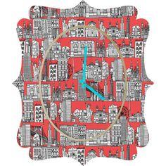 Sharon Turner New York Coral Quatrefoil Clock #clock #deny #newyork #coral #sharonturner