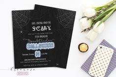 Eat Drink and Be Scary Halloween Invitation by BubamaraDesigns