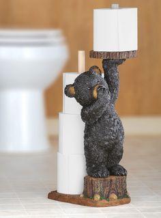 BACKWOODS BATH: Add a cute #bear #TP holder. http://www.collectionsetc.com/Product/northwoods-bear-bathroom-toilet-paper-holder.aspx/_/Ntt-1653599004#