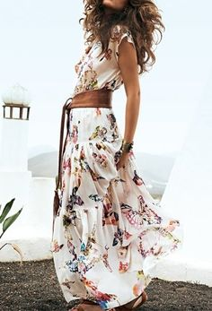 boho maxi, leather belt and a summer day. #wearable