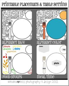 Printable Placemats {mama♥miss} ©2012