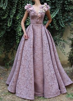 evening dresses Details - Pink amaranth dress color - Flowery designed mesh/net fabric - Handmade embroideries different kinds of flowers,leaves and crystals - A-line dress with V-n Elegant Dresses, Pretty Dresses, Formal Dresses, Couture Dresses, Fashion Dresses, Homecoming Dresses, Quinceanera Dresses, Beautiful Gowns, Beautiful Flowers