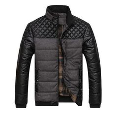 Men's insulated jacket with quilted inserts on shouldersis presented in four colors: black, dark green and dark blue. Lining - plaid,...