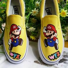 Low Super Mario Yellow Hand Painted Canvas Women/Men Shoes,Low-top Painted Canvas Shoes