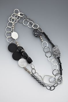 necklace - Sterling silver, agate, onyx, hematite  by Janis Kerman Design