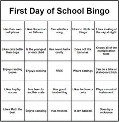 First Day of School Bingo Middle School Icebreakers, First Day Icebreakers, Middle School Choir, First Day Activities, Icebreaker Activities, Elementary School Counseling, 1st Day Of School, Back To School Activities, Elementary Music