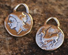 TWO Artisan Pegasus Winged Horse Small Coin Charm in Sterling Silver 184s