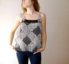 Crochet edges Black and cream patchwork pattern by boutiqueseragun
