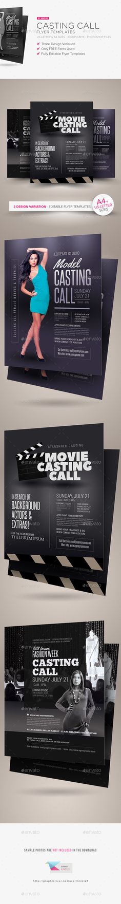 Casting Call Flyer Templates - Download the source-files: http://goo.gl/izdjXc