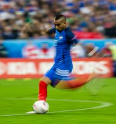 #EURO2016 A slow shutter speed shot of France's Dimitri Payet scoring his sides third goal during the UEFA Euro 2016 Quarterfinal match between France and...
