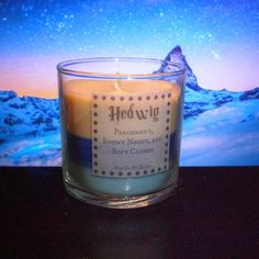 Hedwig scented 4 oz candle: parchment, snowy night, and soft clouds