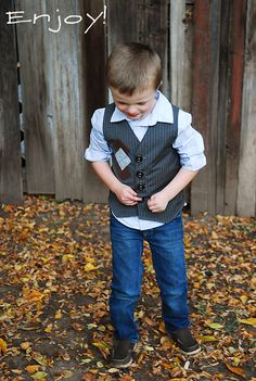 "So today I am sharing the boy vest from the ""vest"" of friends pair. I seriously love boys in vests. It is a great way for them to look hip and cool, and dressed up if desired. I love pairing vests with jeans for that ""casual put together"" look. As a total bonus my sweat …"