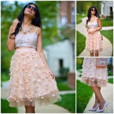 Fluttered Skirt and Sequined Crop Top.