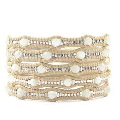 Chan Luu WHITE MOP SCALLOPED WRAP BRACELET ON PETAL LEATHER ($195) ❤ liked on Polyvore featuring jewelry, bracelets, button bracelet, adjustable bangle, engraved jewelry, white wrap bracelet and wrap bracelet