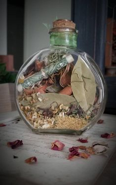 Prosperity Spell - Abundance Spell - Witch Bottle - Herbal Blessing - New Job Spell - Money Spell - Luck - Wiccan - Pagan - Altar Tools - Christine Ames - Pet Fashion Jar Spells, Wiccan Spells, Wiccan Witch, Magick, Candle Spells, Craft Font, Money Spells That Work, Powerful Money Spells, The Color Of Money
