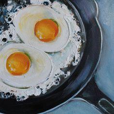 Gietijzeren koekenpan gebakken eieren originele door KristineKainer