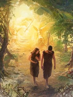 and Eve Disobeyed God As Adam and Eve leave the garden of Eden, angels and a sword of fire guard the entranceAs Adam and Eve leave the garden of Eden, angels and a sword of fire guard the entrance Images Bible, Bible Pictures, Jesus Pictures, Lds Art, Bible Art, Catholic Art, Religious Art, Art Prophétique, Arte Lds
