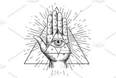 Hipster illustration with sacred geometry, hand, and all-seeing eye symbol inside triangle pyramid. Eye of Providence. Hand Symbols, Masonic Symbols, Hipster Illustration, Graphic Illustration, Dragon Tattoo Drawing, Satanic Cross, Pyramid Eye, Eye Symbol, Mood Images