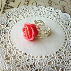Rose Ring with Adjustable Filigree Band  by ALittleBitPrettyShop