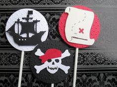12 Layered Detailed Pirate Cupcake Toppers. $9.50, via Etsy.