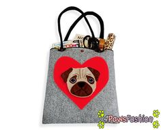 Pug Felt Tote. Handmade Shoulder Bag. Long Handles. Dog Design. Everyday use. 4PawsFashion
