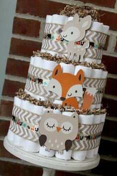 3 tier woodland animal diaper cake boys woodland baby shower fox owl deer centerpiece decor gender neutral burlap chevron brown diapercakedecorations buffalo plaid diaper cake baby boy diaper cake available for purchase by order Gateau Baby Shower, Deco Baby Shower, Shower Bebe, Baby Shower Diapers, Baby Shower Parties, Baby Boy Shower, Baby Shower Gifts, Owl Shower, Diaper Shower