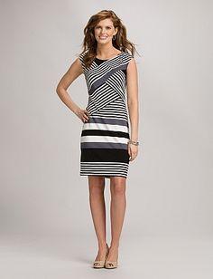 Banded Striped Dress | Dressbarn
