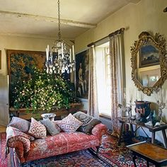 MY CHINESE HORSE, GREEK VASE, MIRROR, AND PRINT PILLOWS  -- Robert Kime sitting room - Wiltshire